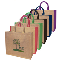 Large Eco Friendly Natural Jute Bag w/ or w/o coloured gusset
