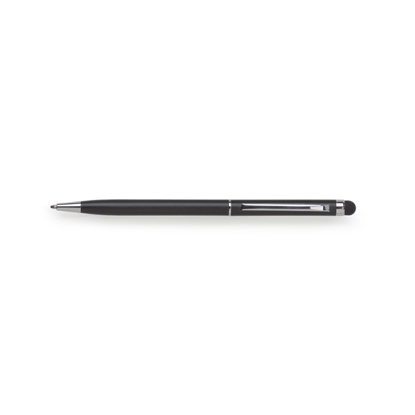 Metal ballpen with rubber tip.