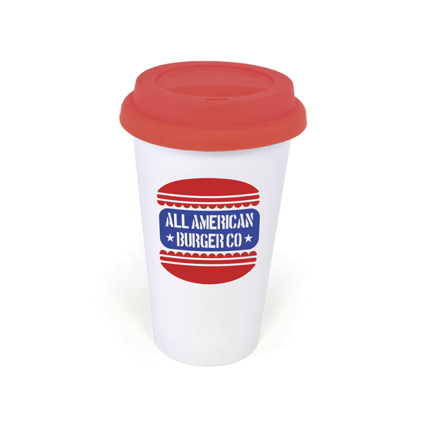 Plastic Take Out Mug 400Ml Double Walled White Plastic Take Out Style Coffee Mug